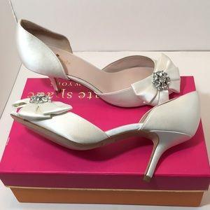 kate spade Shoes - Kate Spade Ivory satin bridal Heels sandals 8.5 M